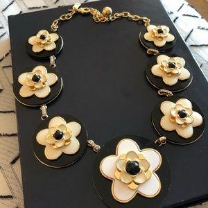 Black & white flower statement necklace